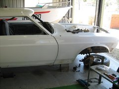 My Mustang b4 restoration in our shed 001 (18).JPG